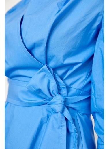 Setre Siyah Bağcık Detaylı Poplin Gömlek Mavi